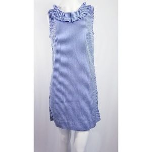 Talbots gingham pleat neck sheath dress Small P